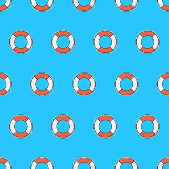 파란색 배경에 생활 부 표 원활한 패턴입니다. 생명의 은인 테마 벡터 일러스트 레이 션
