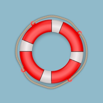 Life buoy with rope isolated.