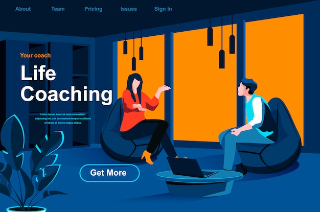 Life coaching isometric landing page.