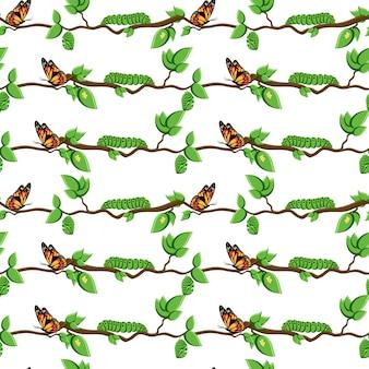 Life cycle of butterfly metamorphosis seamless pattern.