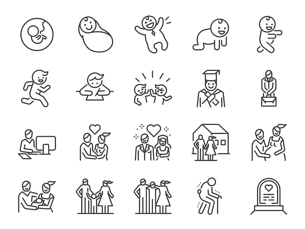 Life cycle line icon set
