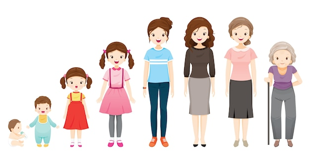 The life cycle of woman, generations and stages of human body growth, different ages, baby, child, teenager, adult, old person