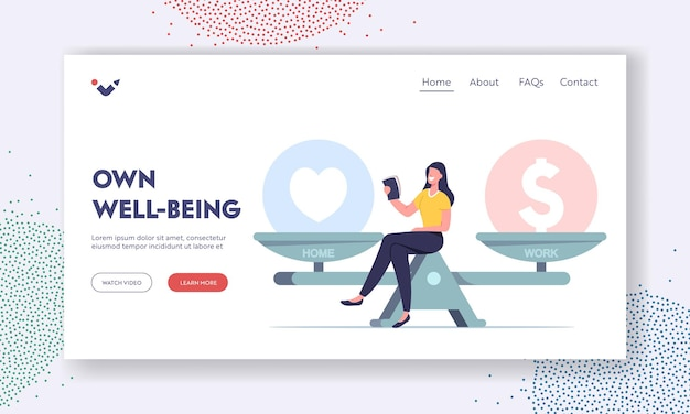 Life dilemma, decision landing page template. tiny female character sit on huge scales choose between finance or love. balance at work, values equality woman make choice. cartoon vector illustration
