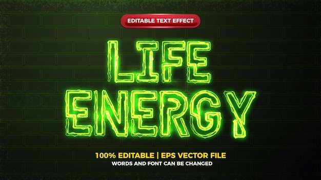 Life energy green electric glow bold editable text effect