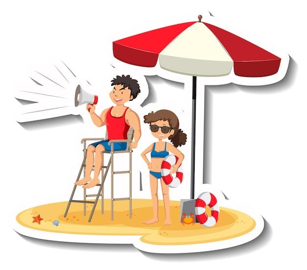 Bagnino che tiene il megafono in spiaggia