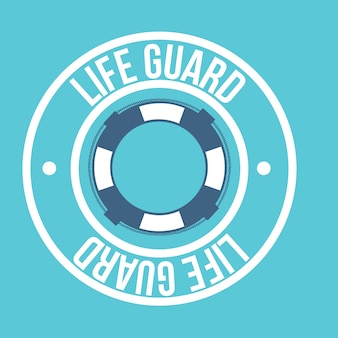 Life guard seal over blue background vector illustration