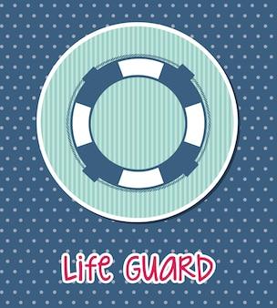 Life guard seal over blue background vector illustration