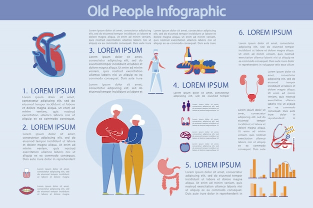 Life and health prevention old people, infographic