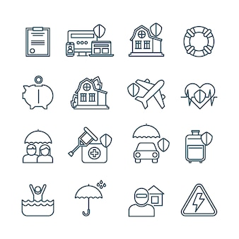 Life, house and car insurance thin line icons