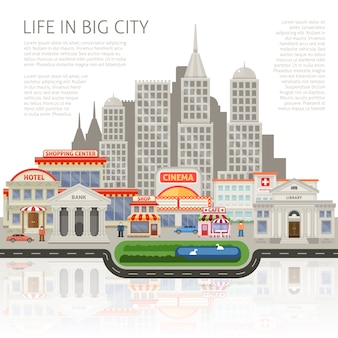 商業住宅や高層ビルの人々の建物のシルエットを持つ大都市デザインでの生活