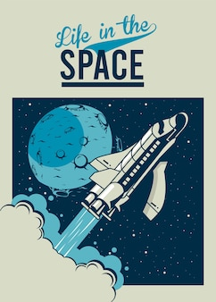 Жизнь в космосе с космическим кораблем и луной в винтажном стиле плаката