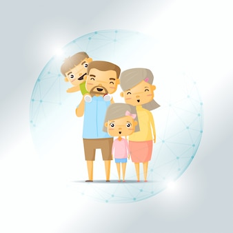 Life insurance concept with happy family protected in polygonal sphere shield