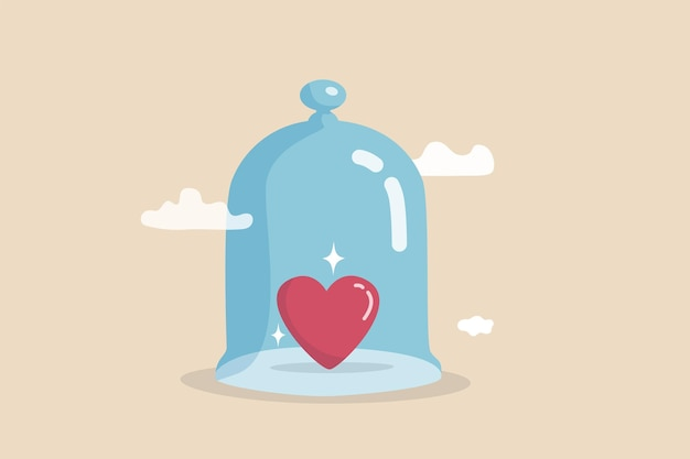 生命保険の家族の保護、保護、セキュリティはあなたの愛する人をカバーし、病気、健康または病気の概念から保護し、強いガラスのドームの中に覆われた光沢のあるハートの形をします。
