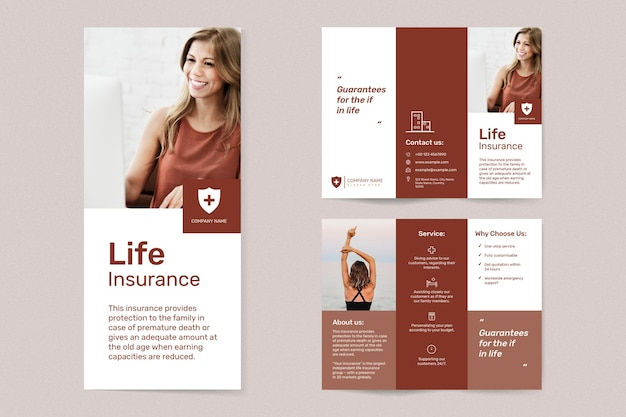 Vettore del modello di assicurazione sulla vita con set di testo modificabile
