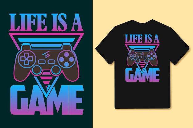 인생은 게임 글리치 다채로운 타이포그래피 조이스틱 게임 패드 t 셔츠 슬로건 및 상품입니다