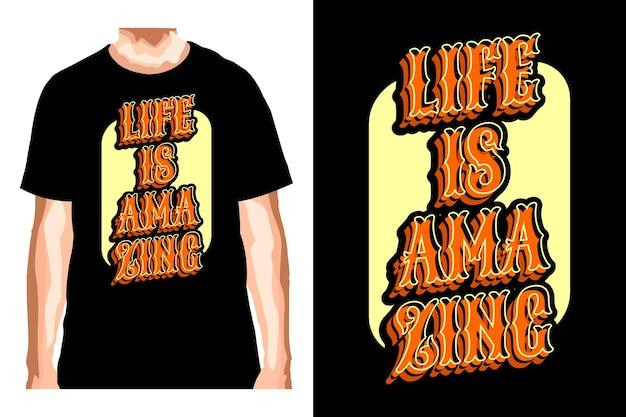 Слоган life is amazing для дизайна футболки