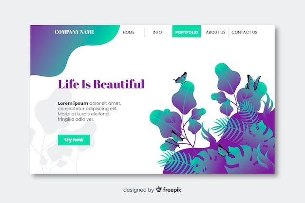 Life is beautiful nature landing page