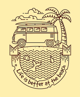 Life is better lineal illustration