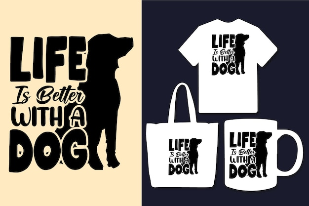 犬のタイポグラフィの引用符のデザインで人生はより良い