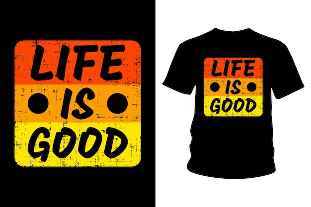 人生は良いスローガンtシャツのタイポグラフィデザインです