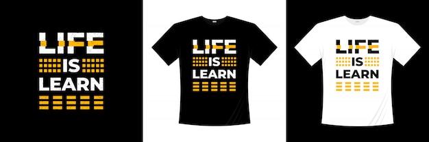 Жизнь это учиться типографии дизайн футболки