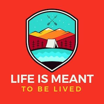 Жизнь предназначена для того, чтобы прожить логотип, дизайн эмблемы ретро-кемпинга с горами и палаткой.