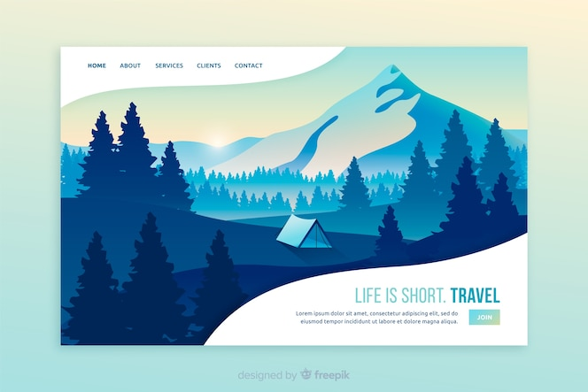 Life is short travel landing page