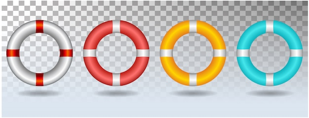 Life ring set icon illustration isolated on white background