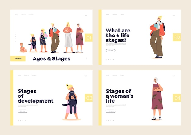 Life stages of growth concept of set of landing pages with woman growing from kid to senior lady