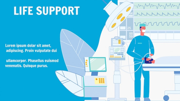 Life support vector web banner with text space