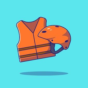 구명 조끼 또는 구명 조끼 및 헬멧 보호 평면 벡터 일러스트 레이 션.