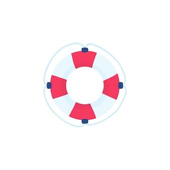 Иконка спасательный круг в мультяшном стиле, изолированные на белом фоне. серфинг символ акций векторная иллюстрация.