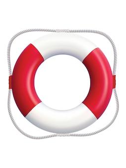白で隔離の救命浮輪