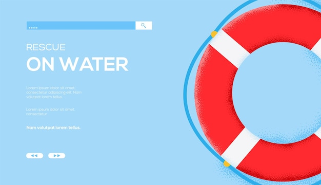 Lifebuoy, rescue on water web template.
