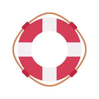 Спасательный круг в красном и белом цвете