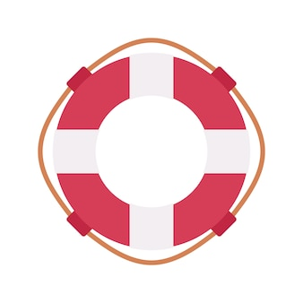 Lifebuoy ring in red and white color