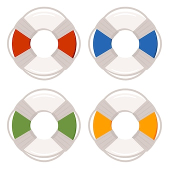 Lifebuoy ring for swimming pools icon set isolated