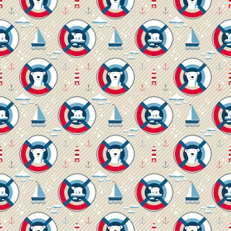Lifebuoy seamless pattern with bear