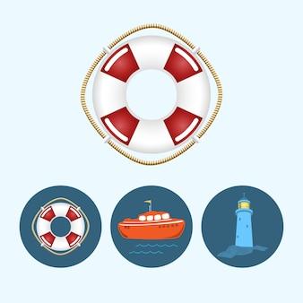 Спасательный круг. набор с 3 круглыми красочными значками, оранжевая лодка с флагом и волнами, спасательный круг, маяк, векторная иллюстрация