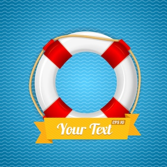 Lifebuoy with ribbon for your text.