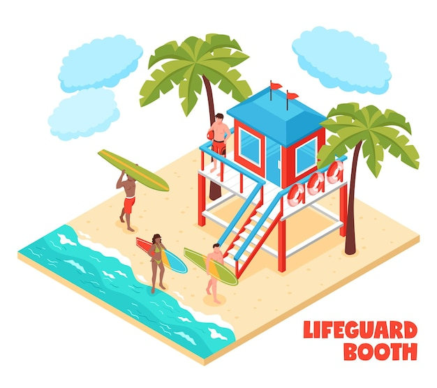 Lifeguard booth on south beach isometric composition with saver and surfers holding surfboards