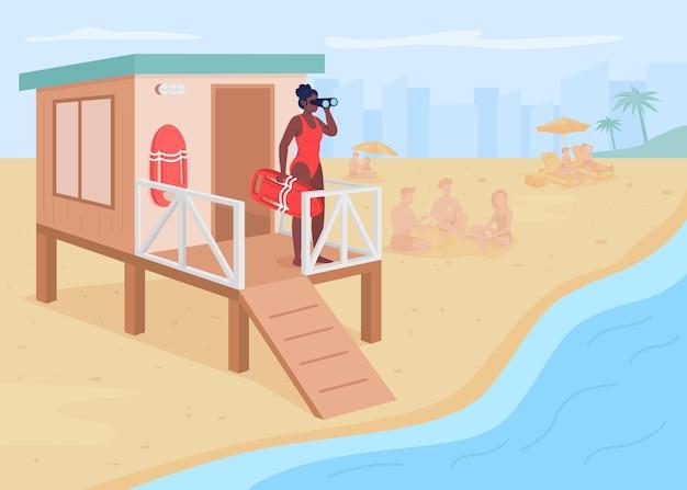 Lifeguard flat color illustration