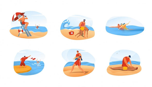 Lifeguard man rescue people, ocean beach emergency situation set,  illustration