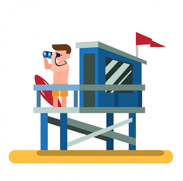 Lifeguard patrol in the lifeguard tower beach flat illustration