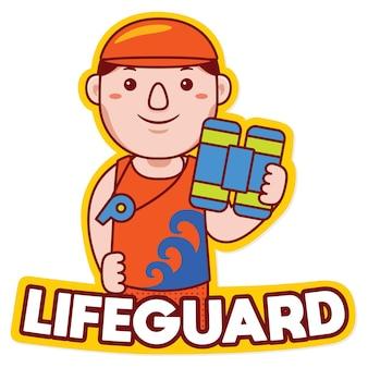 Спасатель профессии талисман логотип вектор в мультяшном стиле