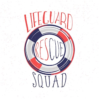 Lifeguard, rescue squad typography design with red-blue lifebuoy