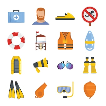 Lifeguard save icons set
