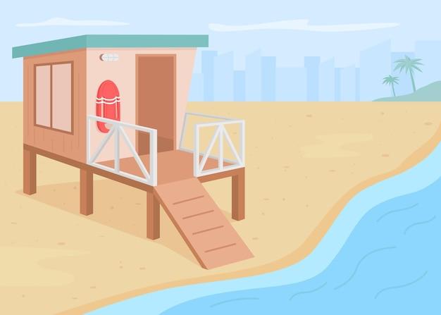 Спасательная башня плоская цветная иллюстрация