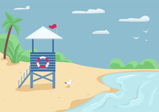 모래 해변 플랫 컬러 일러스트에 근 위 기병 연대 탑. 구조대 건물, 수영 안전. 라이프 가드 배경에 물과 푸른 하늘 해변 2d 만화 풍경에 서
