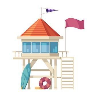화이트에 서핑 보드와 부양 링 만화와 근 위 기병 연대 타워